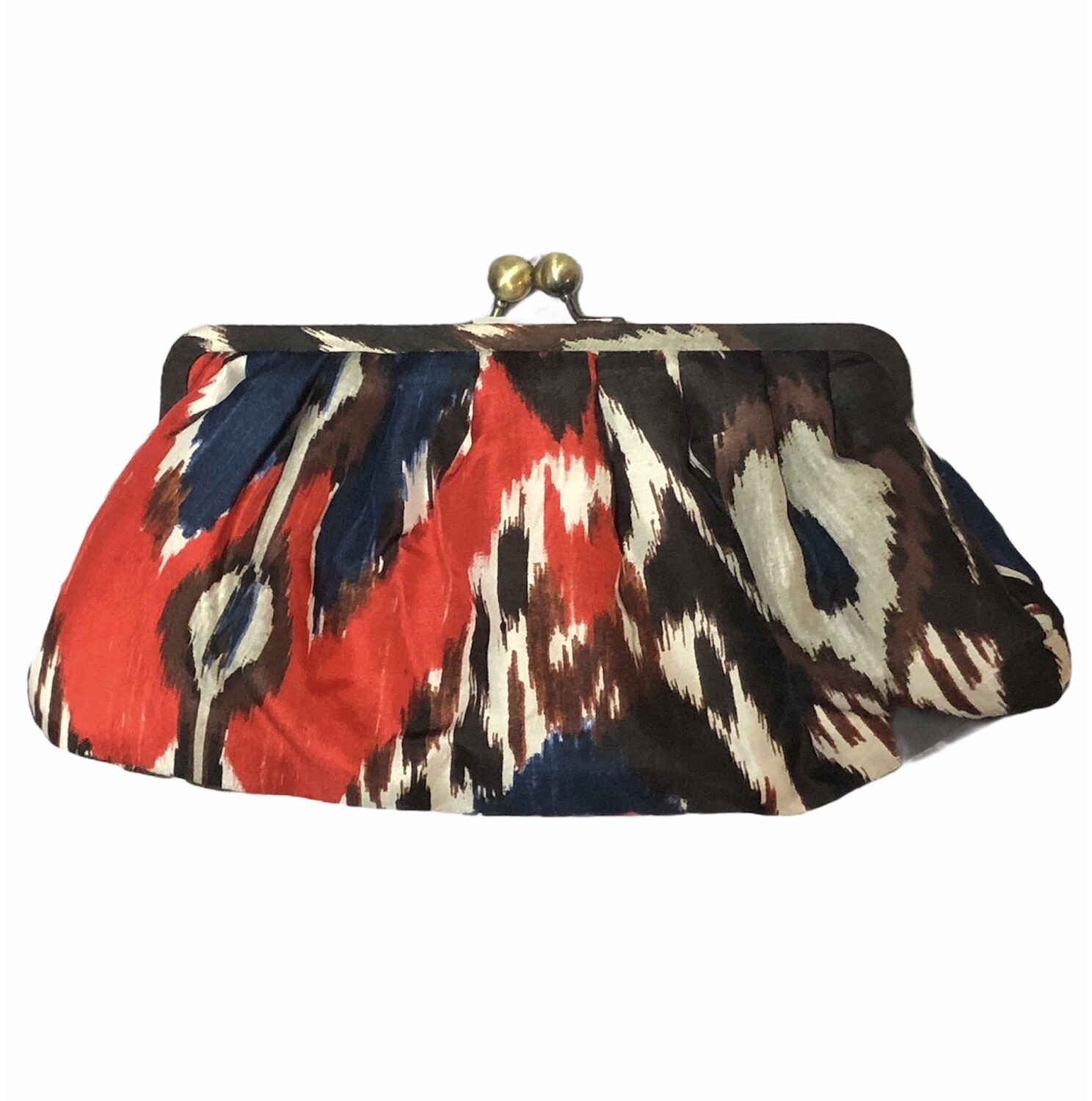 CHICOS Abstract Pink 100% Silk Clutch Bag