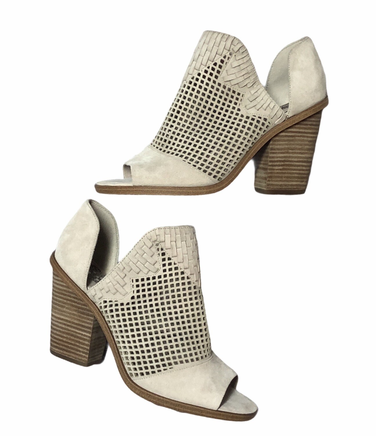 New VINCE CAMUTO Perforated Suede Peep Toe Booties size 9 1/2