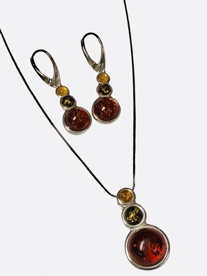 Sterling Silver & Amber Necklace, Pendant & Earrings