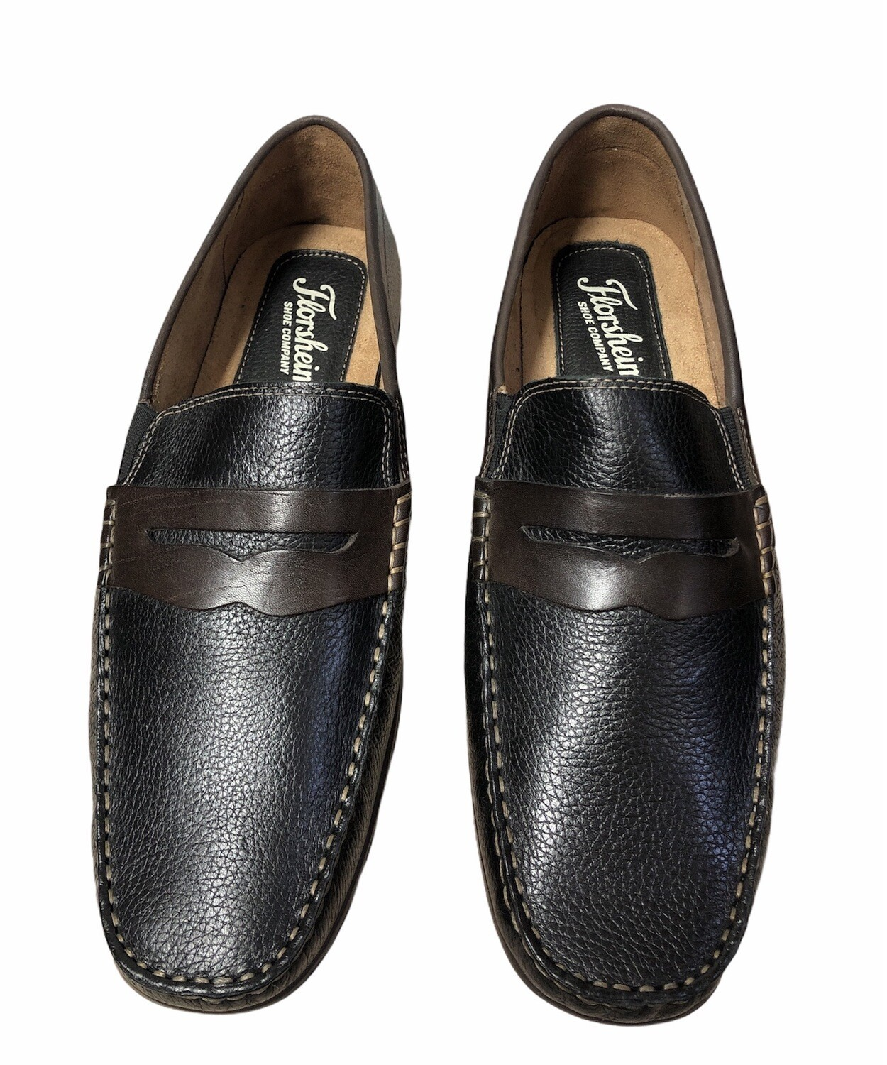Mens FLORSHEIM Black & Brown Pebble Leather Driving Loafers size 11 W