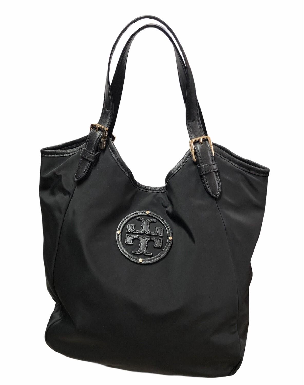 TORY BURCH Dipped Canvas Stacked Logo Tote Handbag