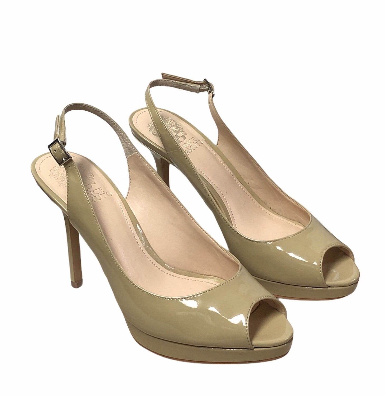 New VINCE CAMUTO Nude Patent Leather Peep Toe Slingback Heels size 8