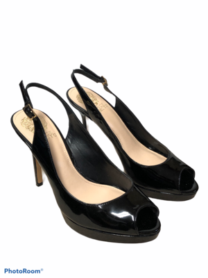VINCE CAMUTO Black Patent Leather Peep Toe Sling Back Heels size 8