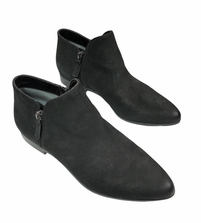 FRANCO SARTO Black Distressed Leather Zip Booties size 10