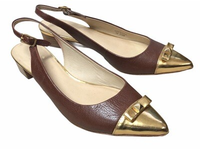KATE SPADE Brown & Gold Leather Cap Toe Slingback Shoes size 7 1/2