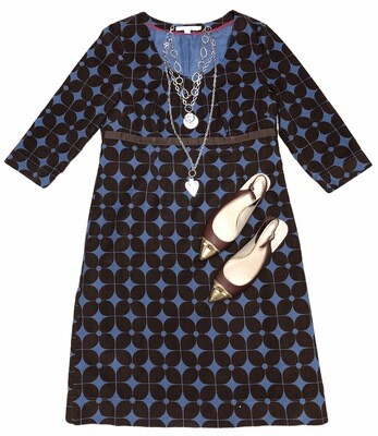 BODEN Brown & Blue Floral Cord Dress size 12