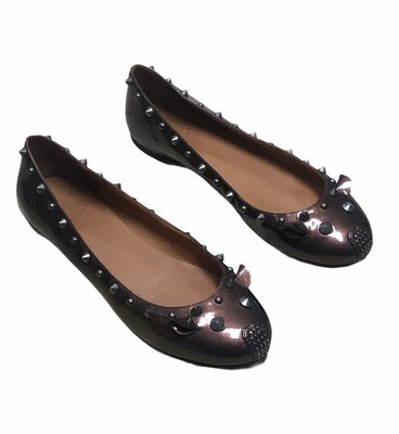 Marc by MARC JACOBS Metallic Wine Patent Leather Spike Loafers size 8