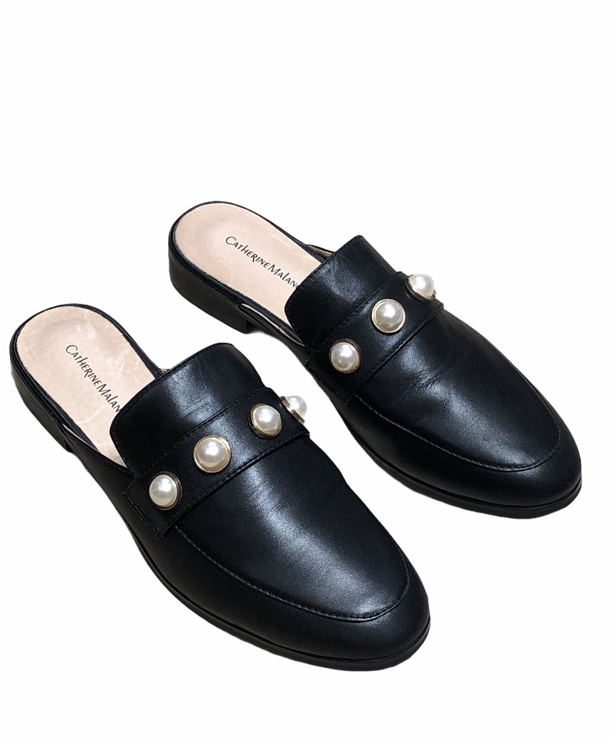 """CATHERINE MALANDRINO """"Quentin"""" Black Leather & Pearl Slip-In Mule Loafers size 8"""