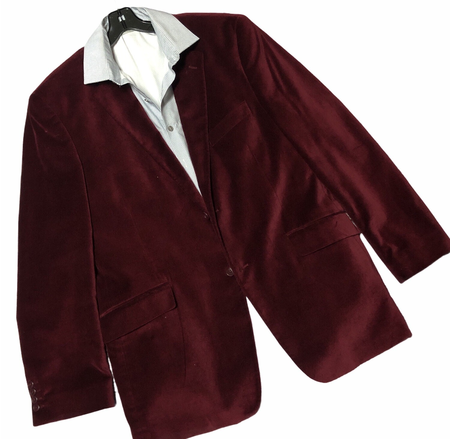 Mens MADISON Burgundy Velvet 2-Button Double Vent Sport Coat 44L