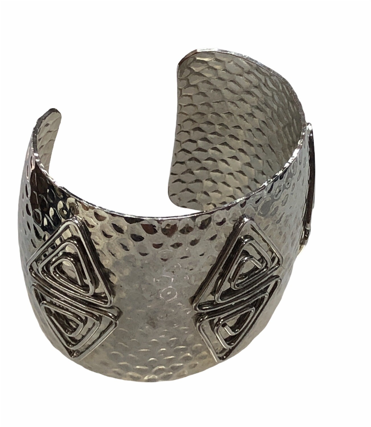 Hammered Silver Abstract Cuff Bracelet