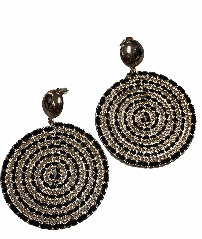 Gold & Black Circular Swirl Dangle Earrings