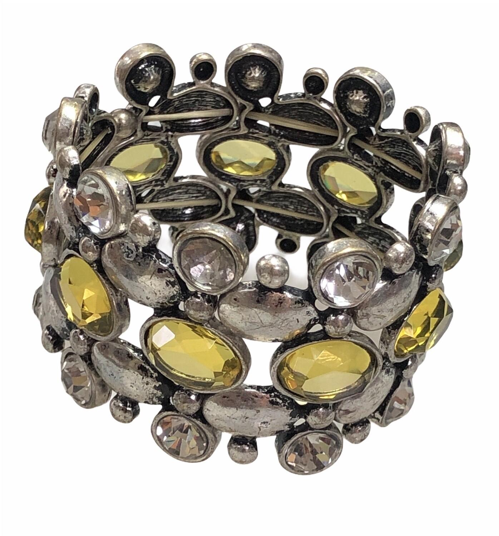 Silver & Stone Jewel Expandable Statement Bracelet