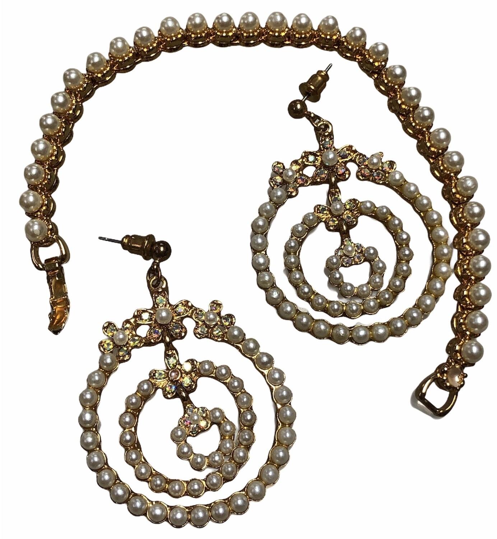 NAPIER Pearl & Rhinestone Dangle Earrings with Matching Bracelet