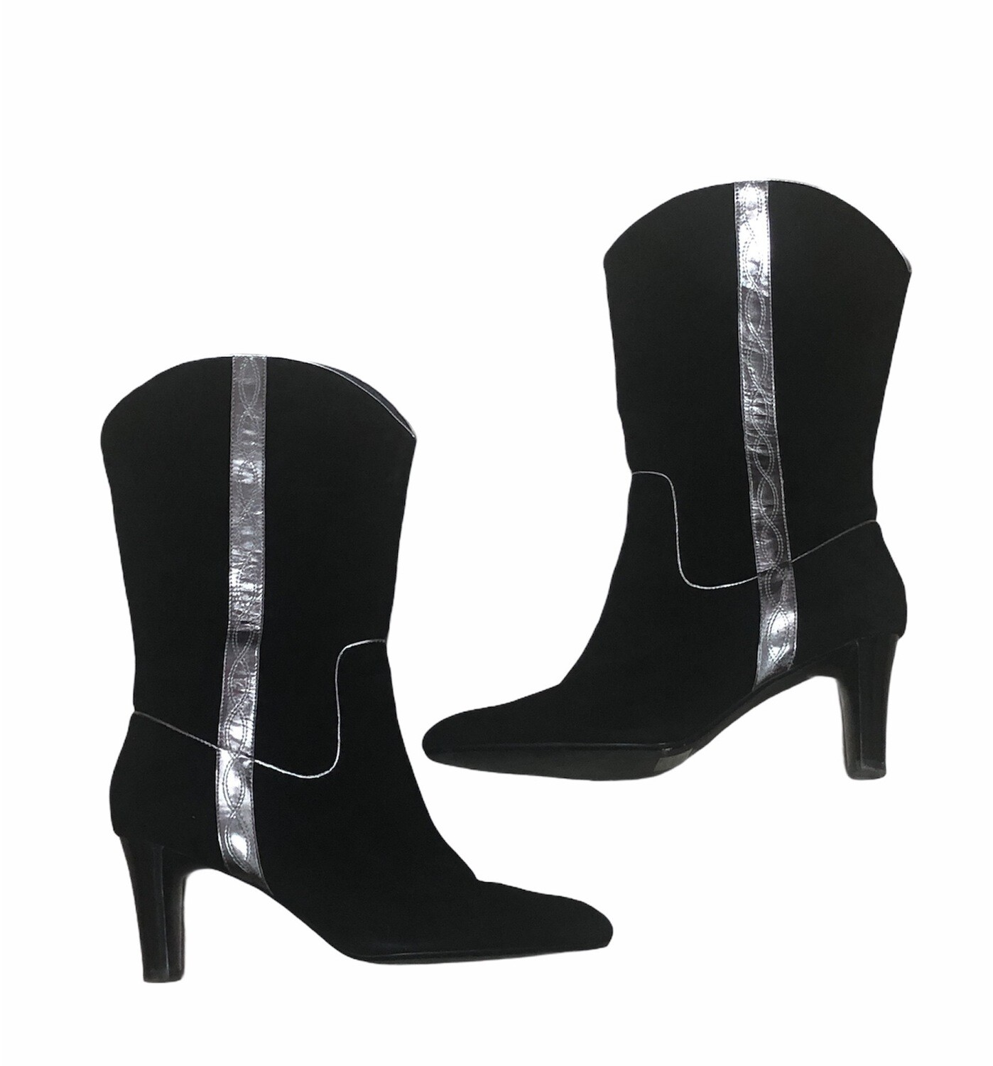 COLDWATER CREEK Black Suede and Pewter  Hi Heel Boots size 10 $119