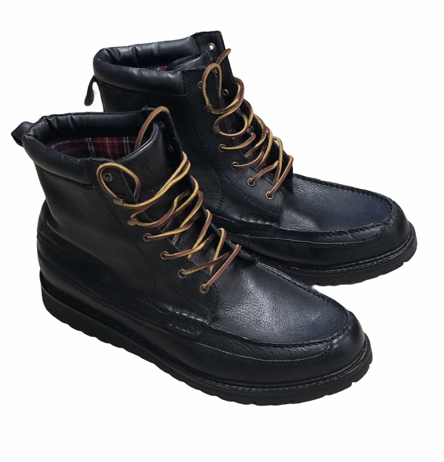 "Mens RALPH LAUREN ""Willingcott"" Black Leather Lace-Up Boots size 15 $169"