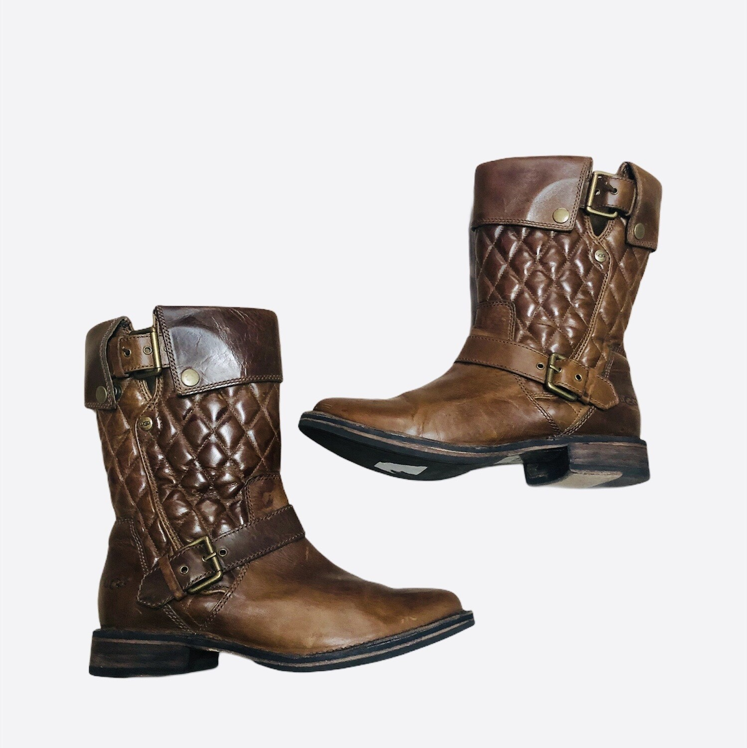 """UGG """"Conor"""" Brown Quilted Leather Boots size 7"""