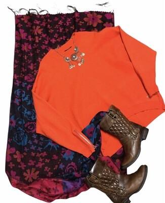 T - TAHARI Orange Oversized Zip Sleeve Knit Top size Large