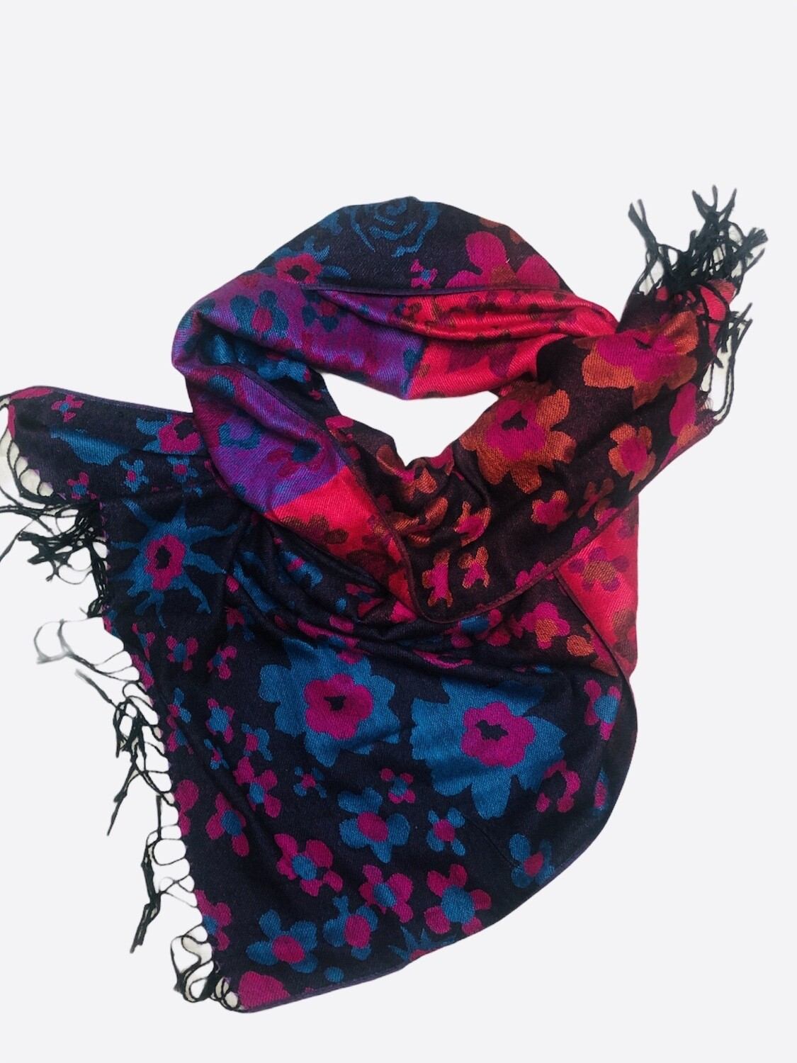 Multi Color Floral Pashmina Shawl Scarf