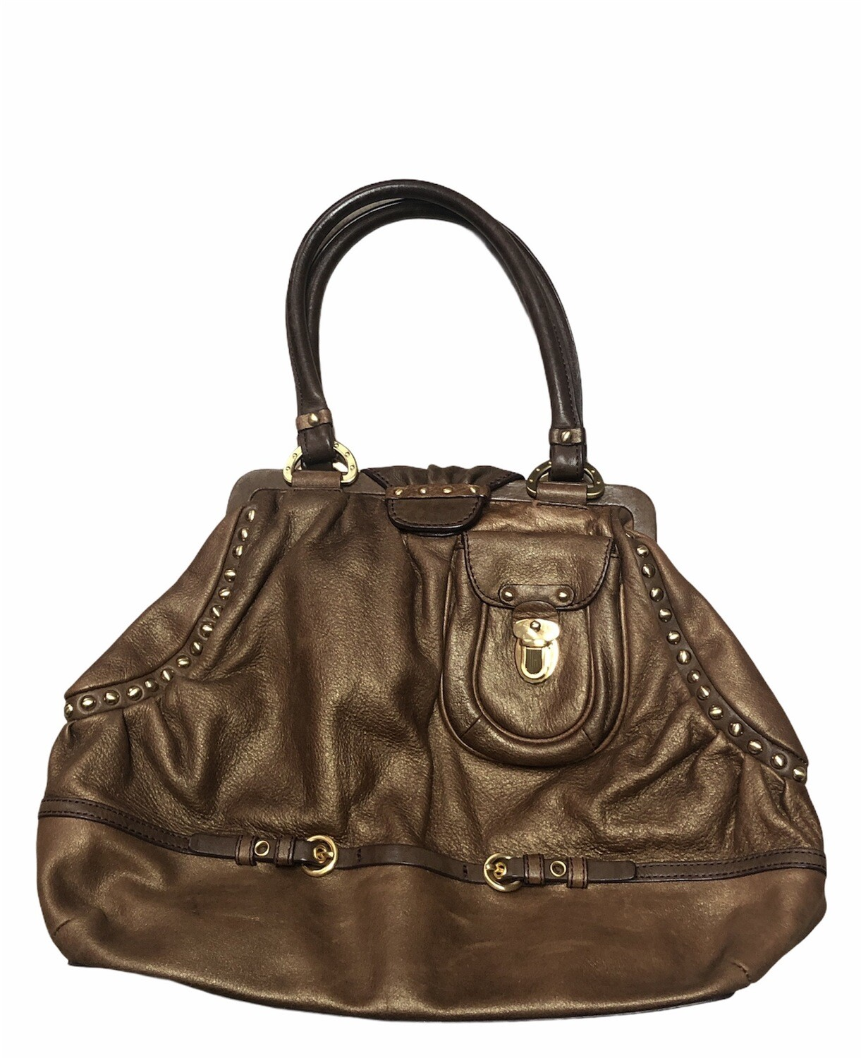 ELLEN TRACY Metallic Caramel Brown Leather Satchel with Gold Rivets