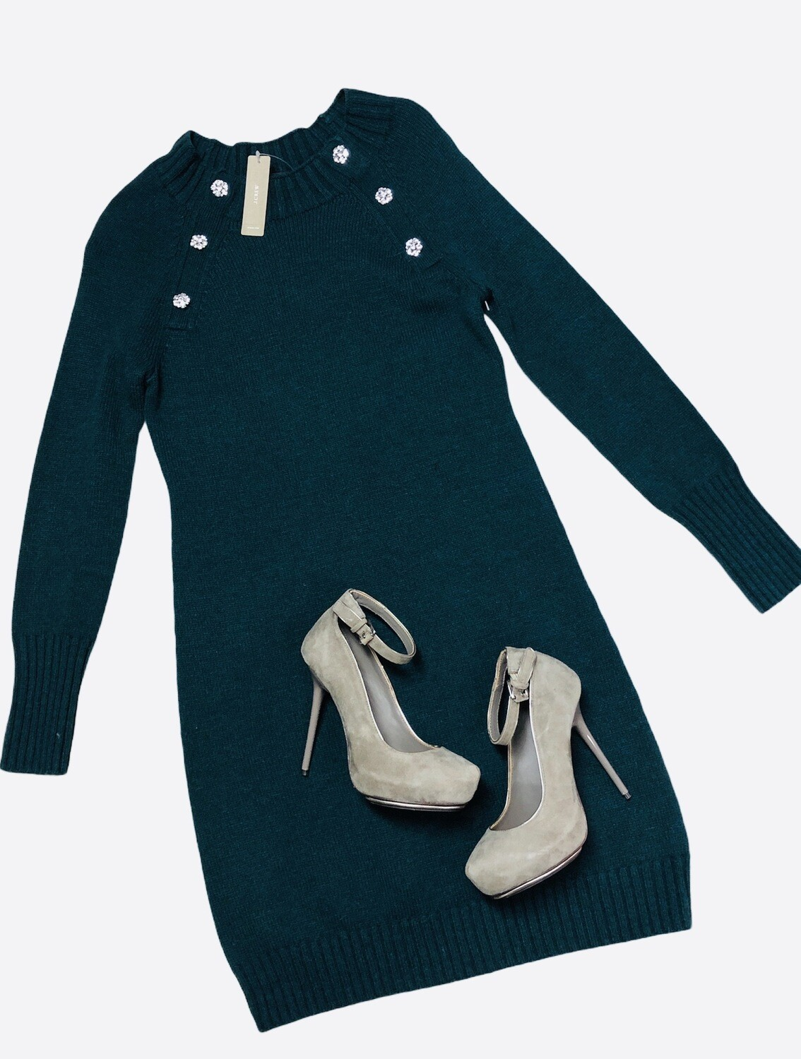 New J CREW Emerald Green Knit Sweater Dress with Rhinestone Buttons size XS