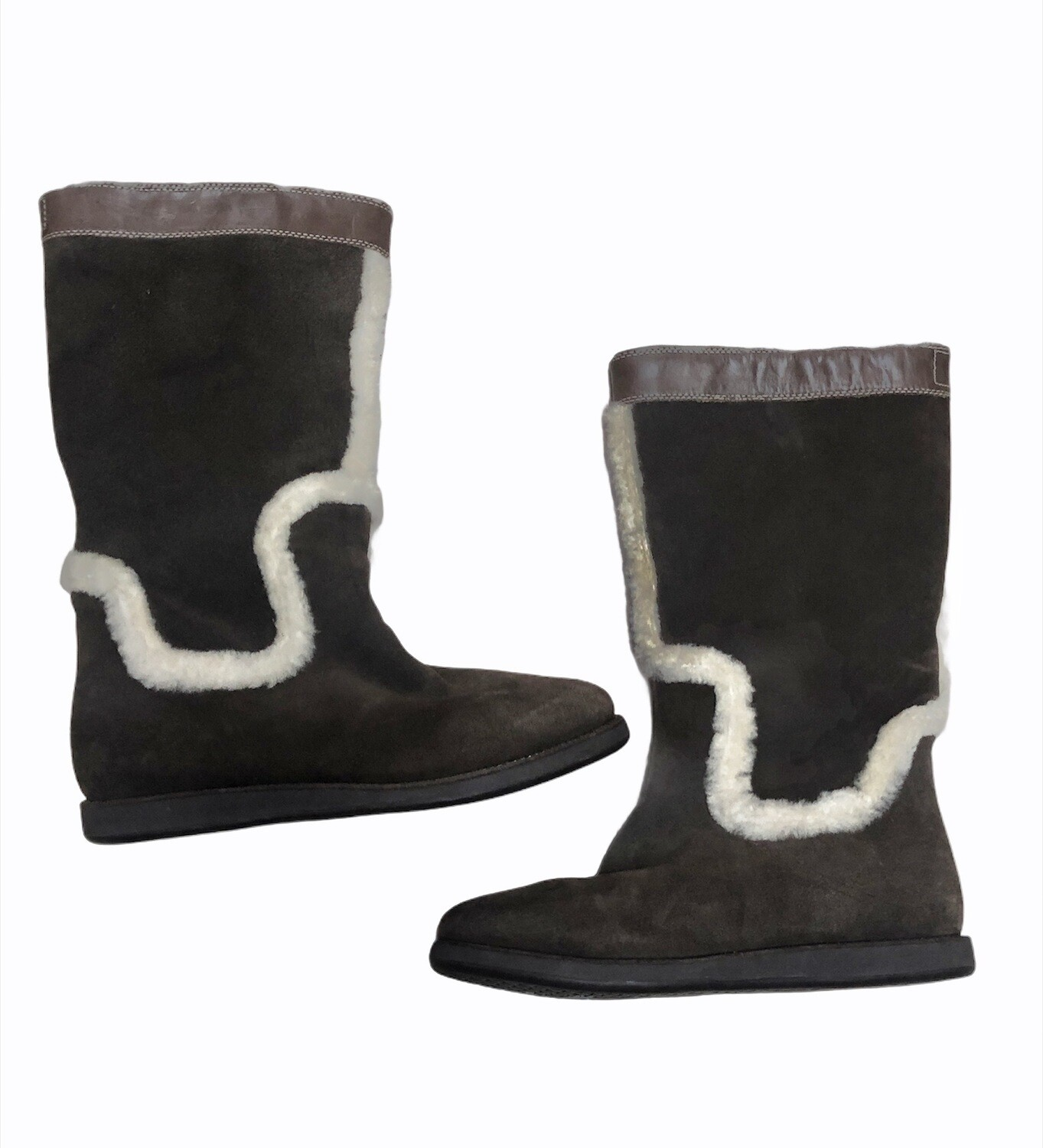 COLE HAAN Nike Air Brown Suede & Shearling Waterproof Boots size 8