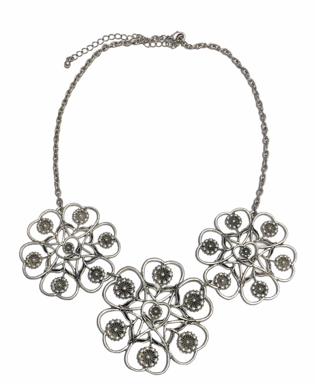Silver Floral Medallion Statement Necklace