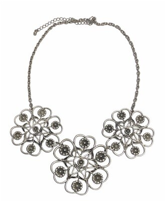 Silver Floral Medallion Statement Necklace