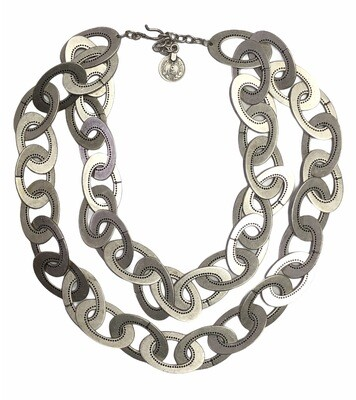 Brushed Silver Oval Link Double Strand Statement Necklace