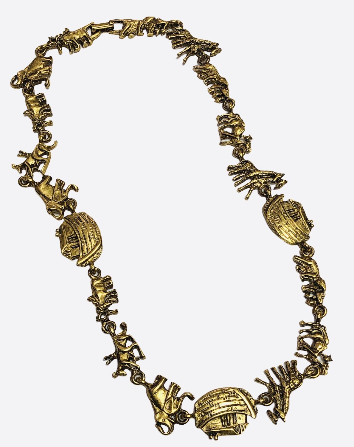 Antique Gold NOAHS ARK Charm Necklace