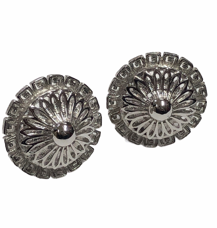 MONET Etched SIlver Roman Style Clip Earrlings