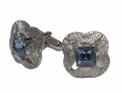 Mens SWANK Silver & Carolina Blue Rhinestone Cuff Links