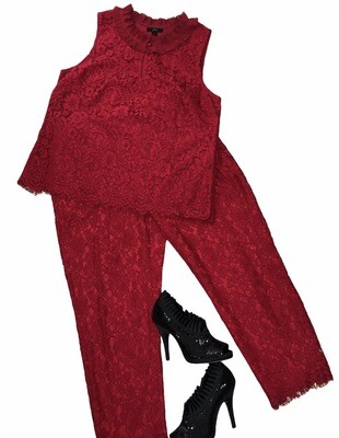 2pc J CREW Red Lace Top & Pants size 10