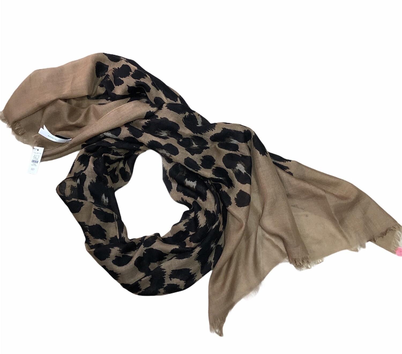 New TALBOTS Wool & Silk Animal Print Scarf 26 X 72