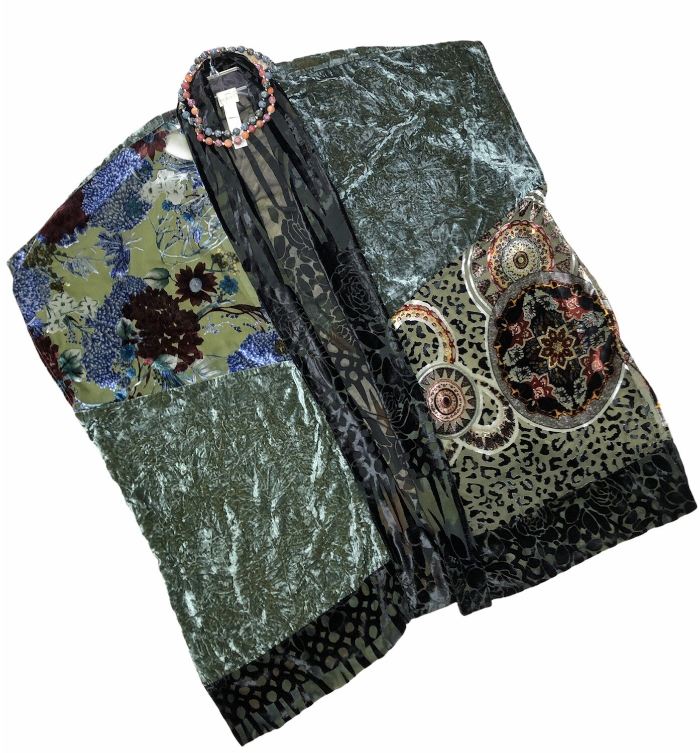 CHICOS Wearable Art Crushed Velvet Kimono Shawl ONE SIZE