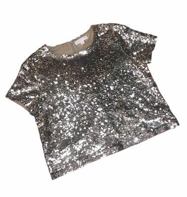 MICHAEL KORS Gold Sequin Short Sleeve Top size XL