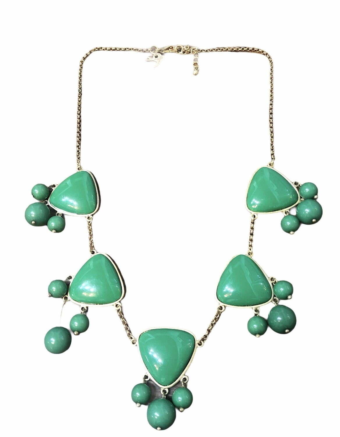 Gold & Green Bead Statement Necklace