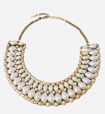 MIKA Gold, Pearl and Bead Statement Necklace