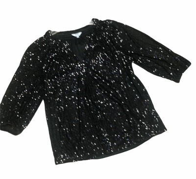 New CROWN & IVY Black Sequin Blouse size Small