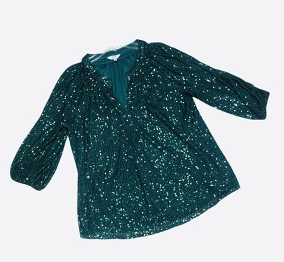 New CROWN & IVY Emerald Green Sequin Blouse size Small