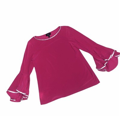 New MSK Pink Rhinestone Bell Sleeve Evening Blouse Medium
