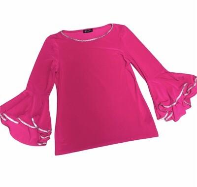 New PRELUDE Pink Rhinestone Bell Sleeve Evening Top size Medium
