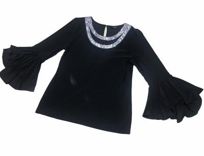 MSK Black Rhinestone Bell Sleeve Holiday Blouse size Medium