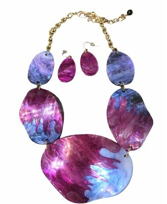 Magenta & Lilac Statement Necklace & Earrings