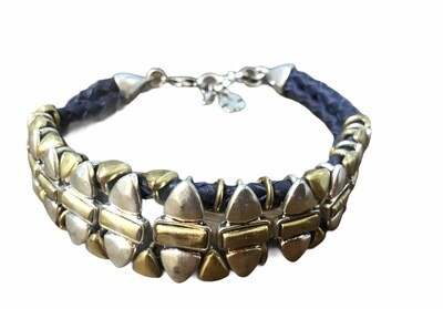 LUCKY BRAND Navy Woven Leather & Abstract Metal Bracelet