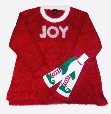 **2pc. Holiday Bundle** JOY Fuzzy Sweater with Elf Toe Socks