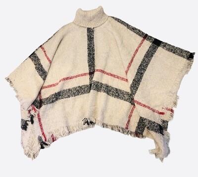 SIGNATURE PLAID Turtleneck Knit Pullover Shawl One Size