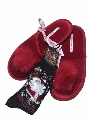 **2pc. HOLIDAY BUNDLE** Victoria's Secret Slippers and Santa Novelty Socks