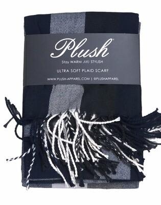 New PLUSH Ultra Soft Plaid Scarf 74 x 27