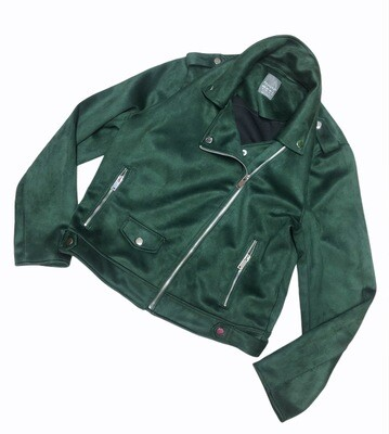 PRIMARK Hunter Green Faux Suede Moto Jacket size 14
