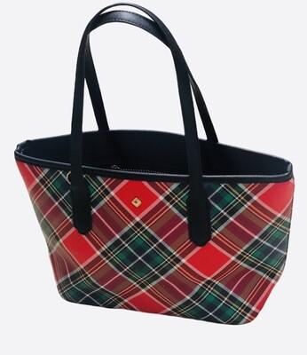 New CROWN & IVY Tartan Plaid Vegan Leather Tote Handbag